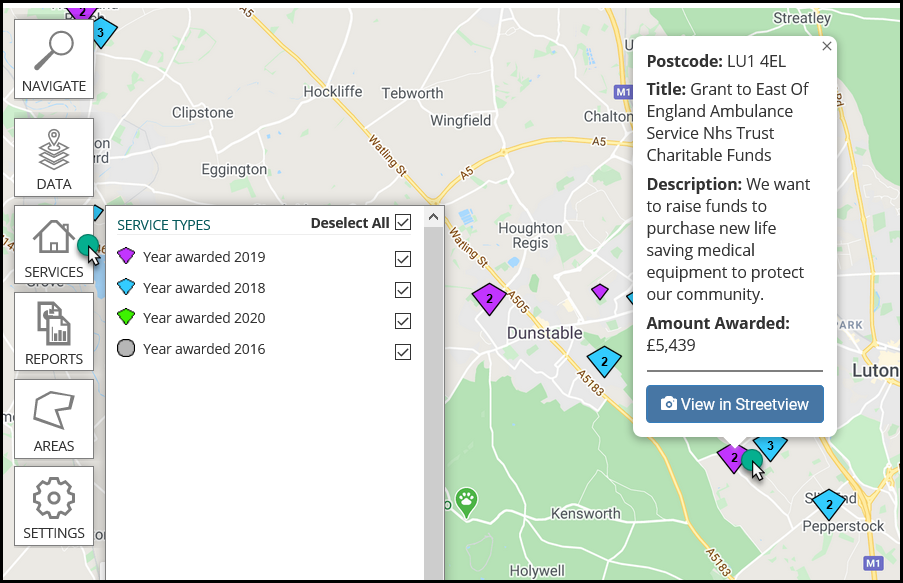 Image caption: The tick boxes next to the year awarded date can be selected/unselected to edit what is displayed on the map.