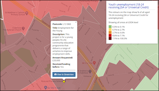 Image caption: The indicator youth unemployment (18-24) receiving JSA or Universal Credit is overlaid alongside the grant application to demonstrate the need in the area.